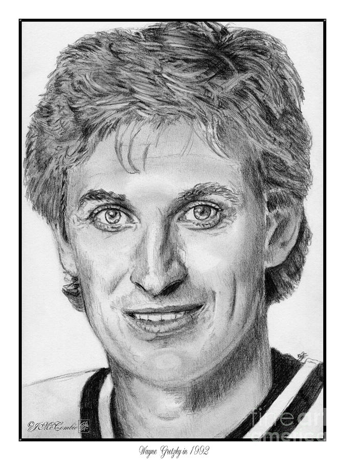 Wayne Gretzky In 1992 Drawing  - Wayne Gretzky In 1992 Fine Art Print