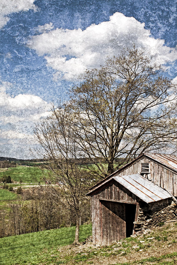 Weathered Hillside Barn Spring Photograph