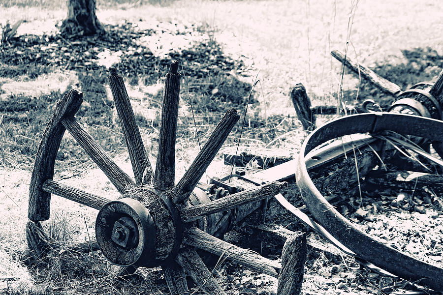 Weathered Wagon Wheel Broken Down Photograph