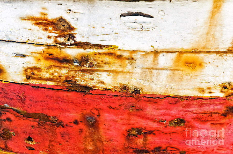 Weathered With Red Stripe Photograph  - Weathered With Red Stripe Fine Art Print