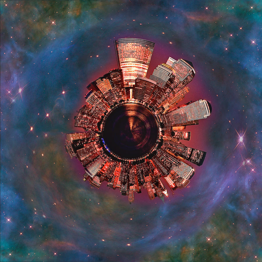 Wee Manhattan Planet Digital Art  - Wee Manhattan Planet Fine Art Print