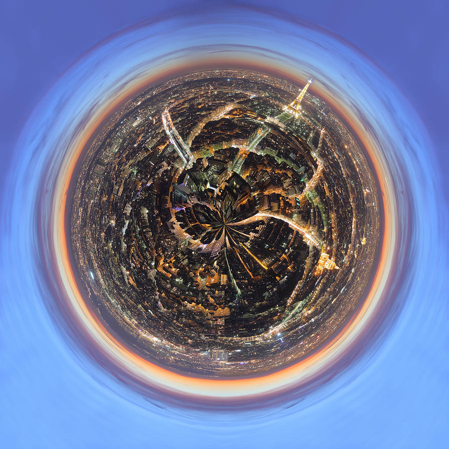 Wee Paris Twilight Planet Photograph  - Wee Paris Twilight Planet Fine Art Print