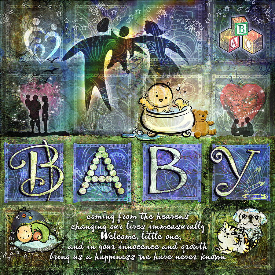 Baby Digital Art - Welcome Baby Boy by Evie Cook