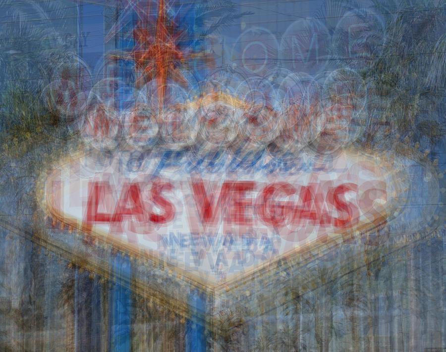Welcome To Fabulous Las Vegas Sign Digital Art  - Welcome To Fabulous Las Vegas Sign Fine Art Print