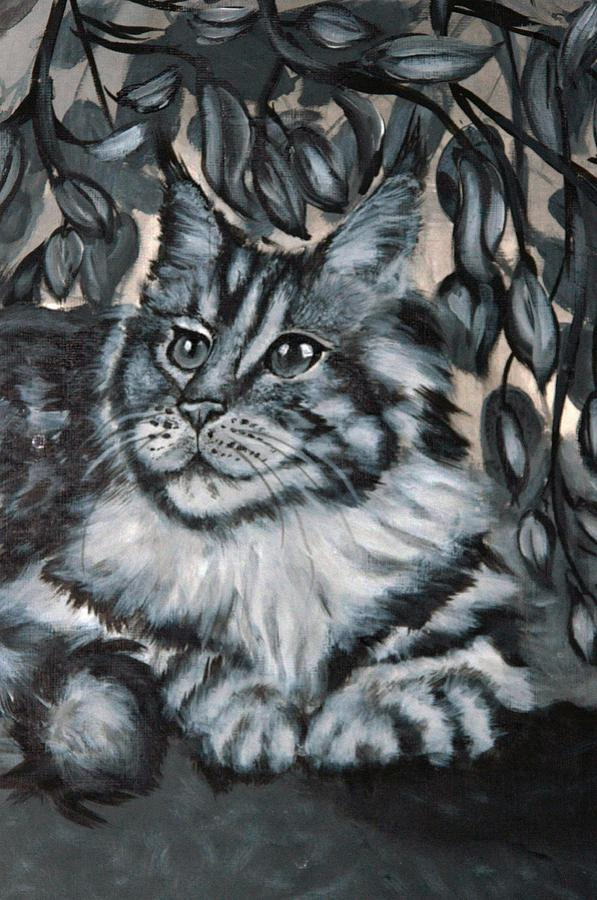 Well Fed Cat Painting