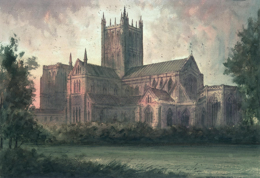 Wells Cathedral Painting  - Wells Cathedral Fine Art Print