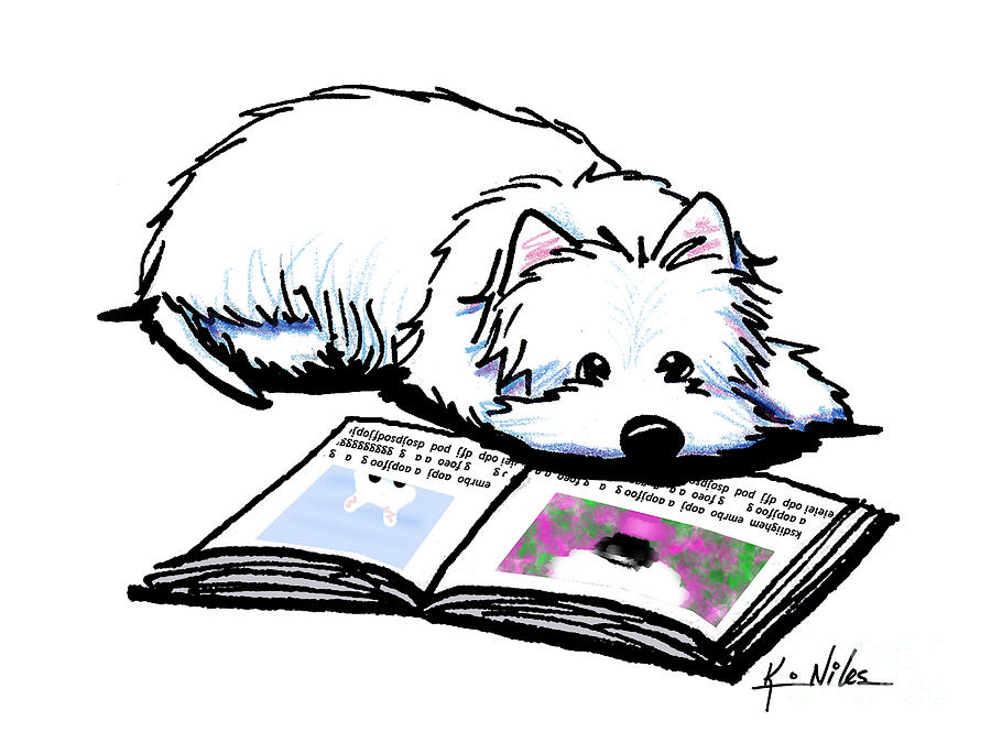Wendell Loves Books Drawing  - Wendell Loves Books Fine Art Print