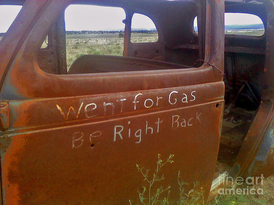 Antique Cars - Rusted Relics - Old Cars - Old Vehicles - Rusted Car Photography Photograph - Went For Gas by Juls Adams
