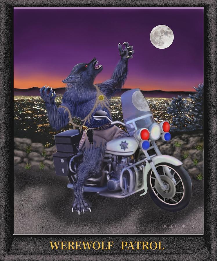 Halloween Digital Art - Werewolf Patrol by Glenn Holbrook