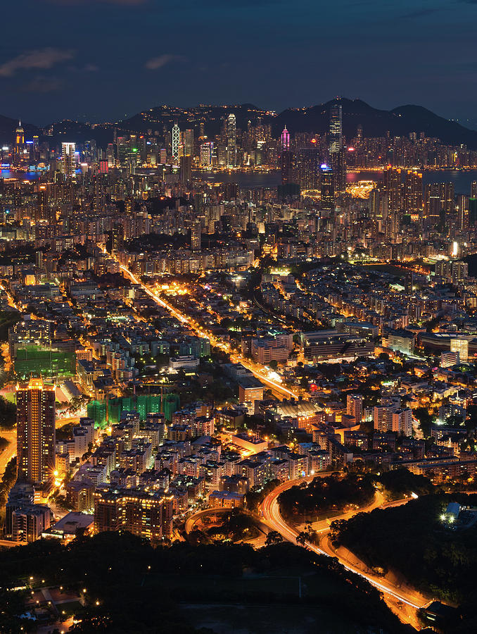 Vertical Photograph - West Hongkong At Night by Coolbiere Photograph