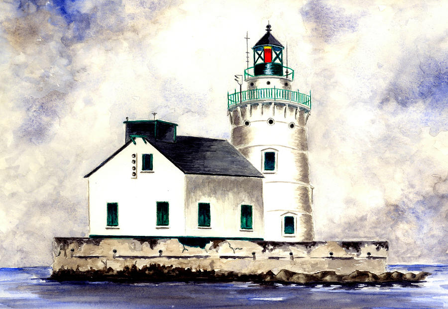 West Pierhead Lighthouse Painting  - West Pierhead Lighthouse Fine Art Print