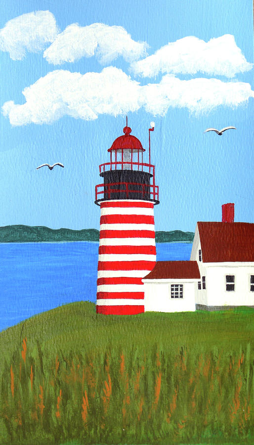West Quoddy Head Lighthouse Painting Painting  - West Quoddy Head Lighthouse Painting Fine Art Print