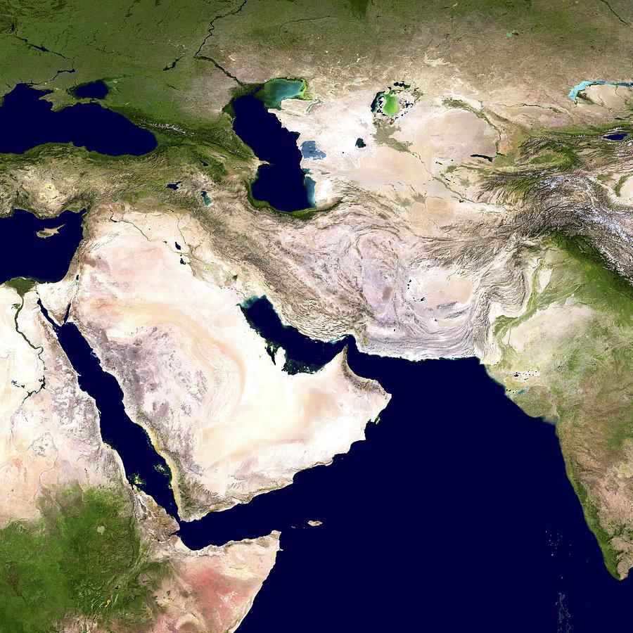 Western Asia, Satellite Image Photograph