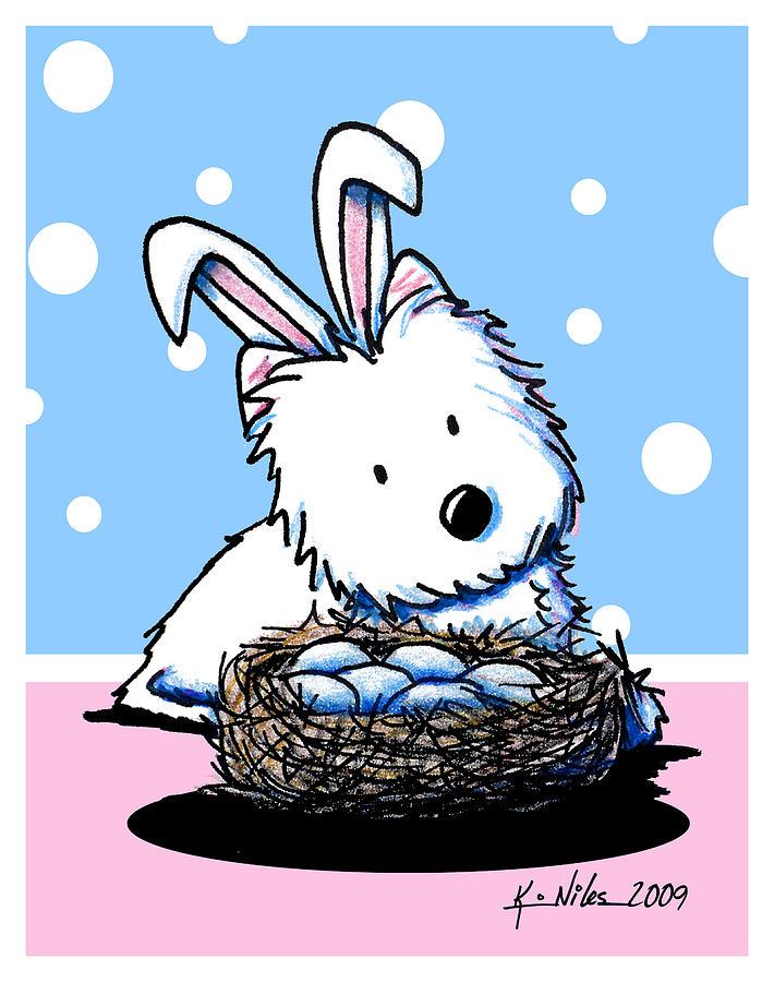 Westie Easter Rabbit Drawing