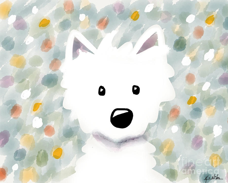 Westie Floral Impression Digital Art