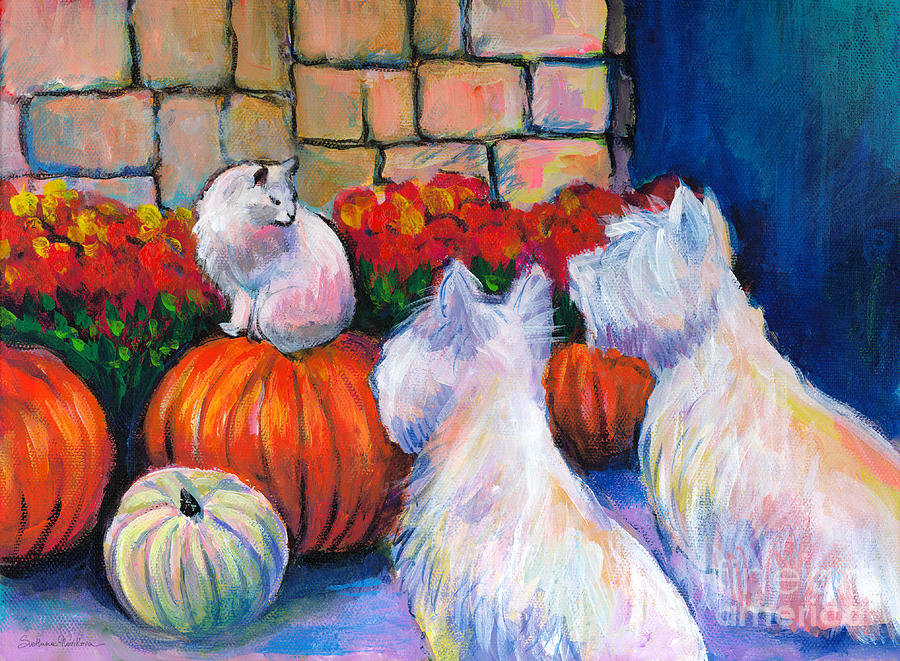 Westie West Highland Terriers Dogs And Cat Painting Print Pumpkins Painting  - Westie West Highland Terriers Dogs And Cat Painting Print Pumpkins Fine Art Print