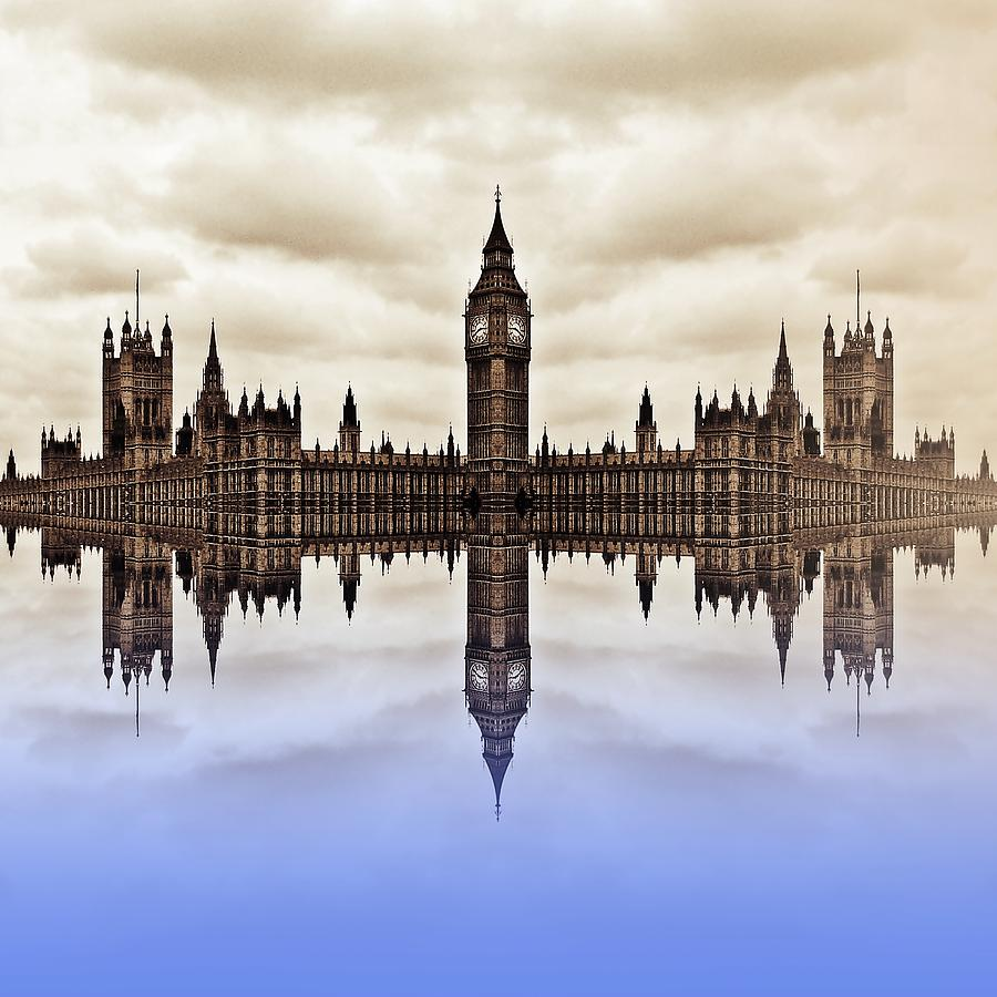 Westminster On Water Digital Art  - Westminster On Water Fine Art Print