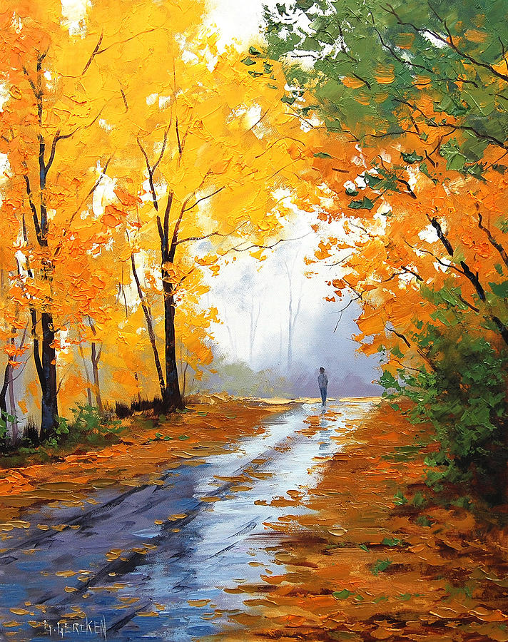 Wet Autumn Morning Painting
