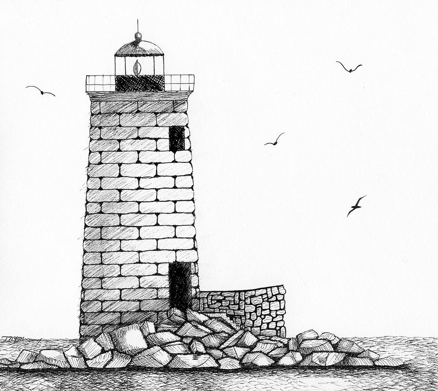 Whaleback Ledge Lighthouse Drawing  - Whaleback Ledge Lighthouse Fine Art Print