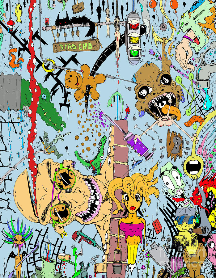 What A Mess Color Drawing  - What A Mess Color Fine Art Print
