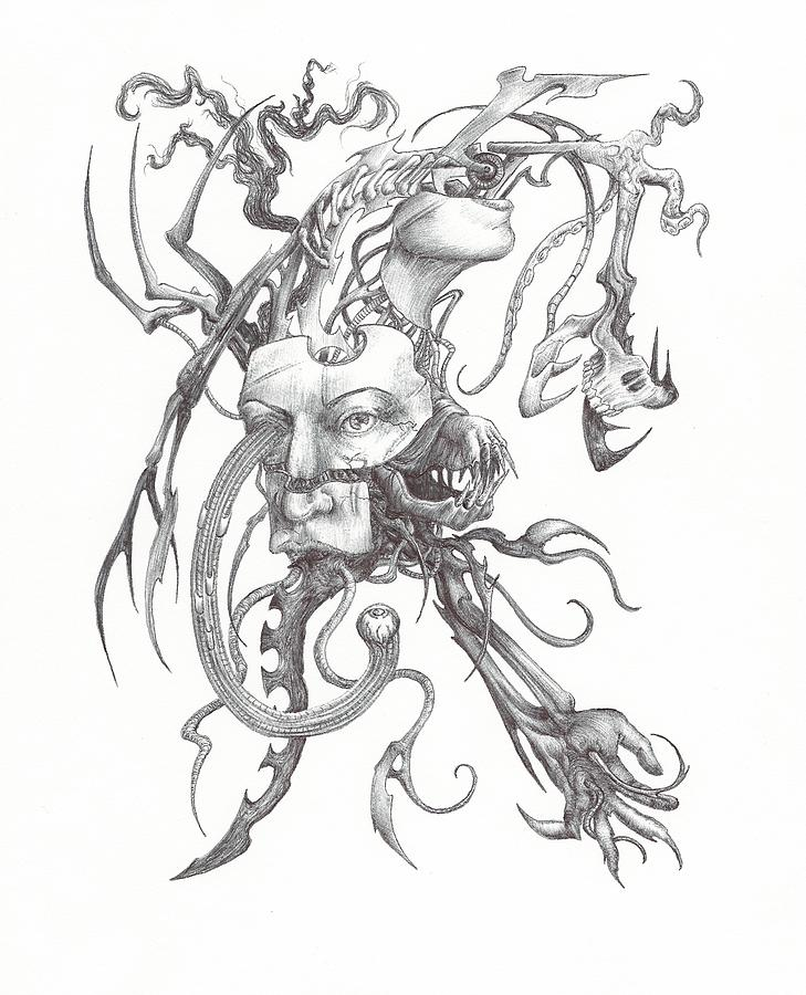 Ink Drawing - What Is On The Inside Part One by Anthony McCracken