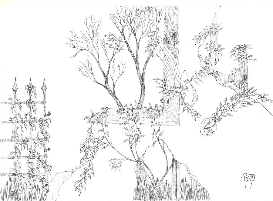 Landscape Drawing - What Remains - Sketch by Robert Meszaros