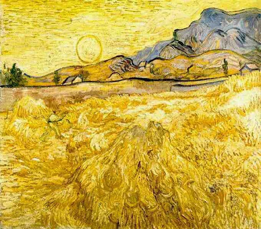 Wheat Field With Reaper And Sun Digital Art By Vincent Van