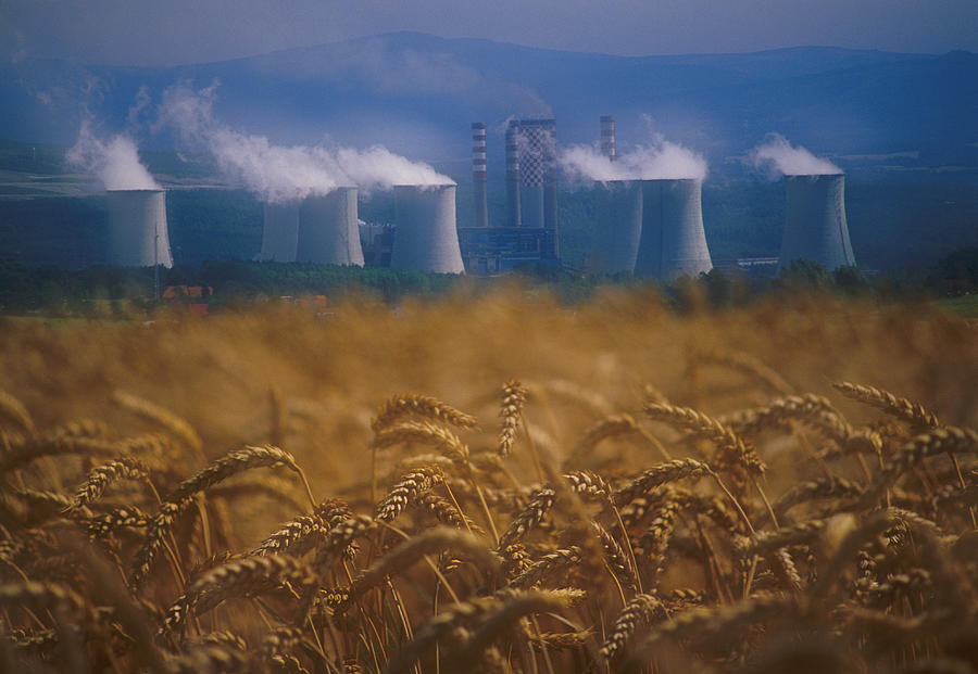 Agriculture Photograph - Wheat Fields And Coal Burning Power by David Nunuk