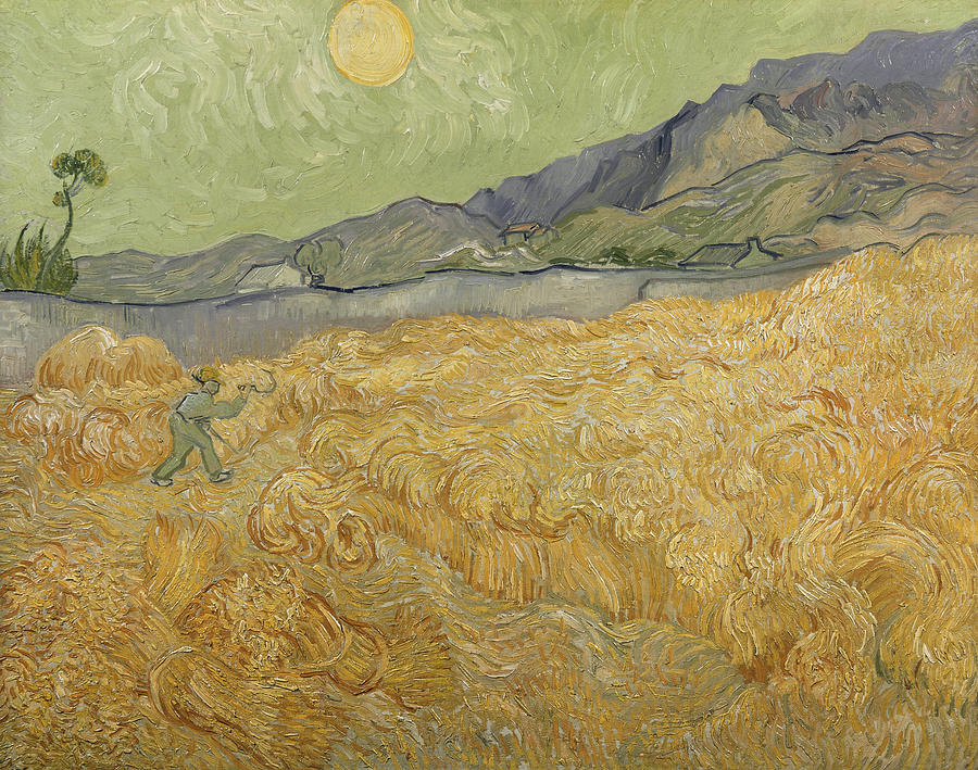 Wheatfield With Reaper Painting