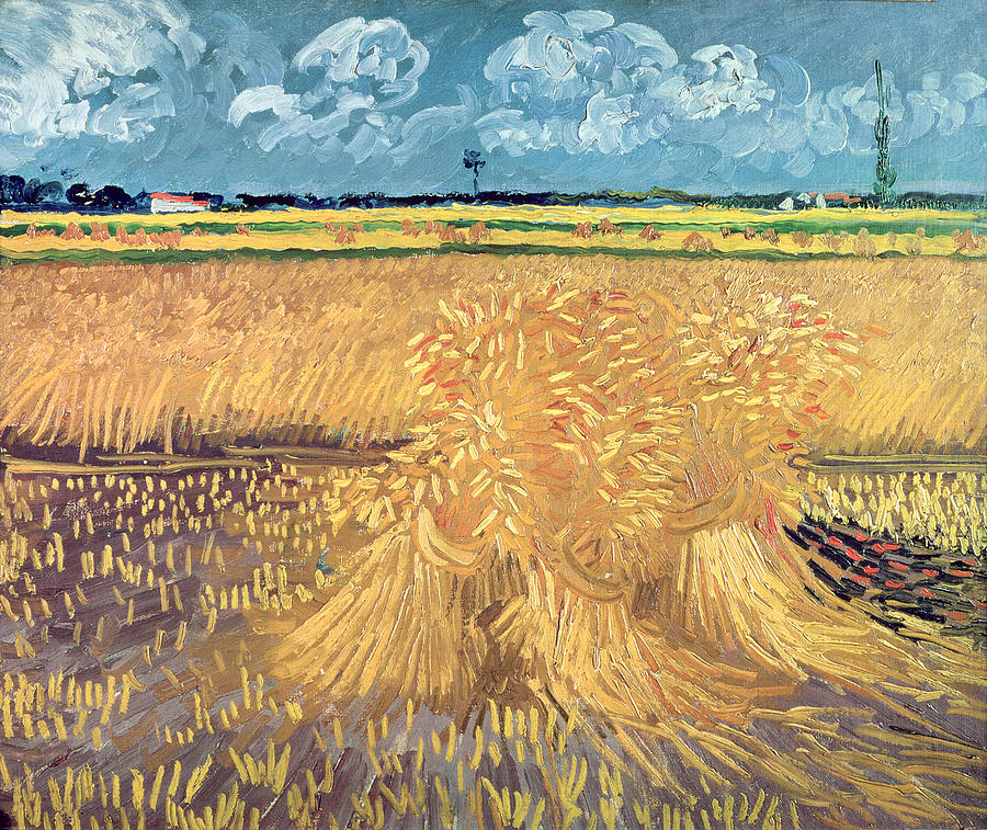 Wheatfield With Sheaves Painting