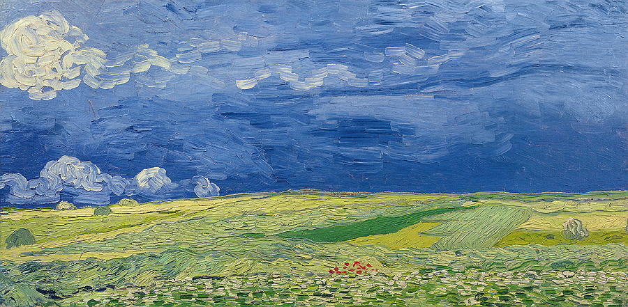 Wheatfields Under Thunderclouds Painting  - Wheatfields Under Thunderclouds Fine Art Print