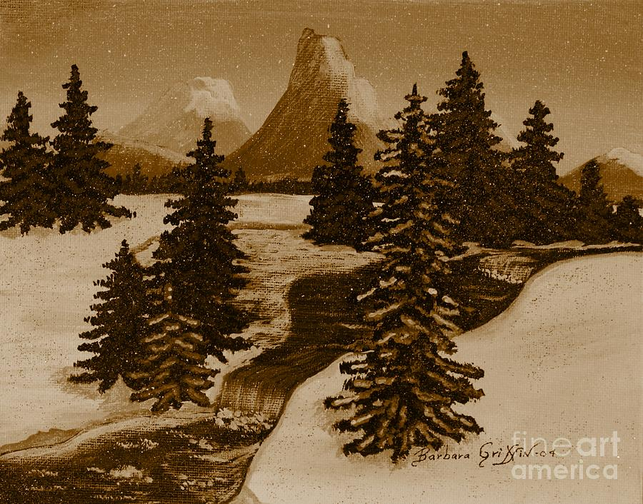When It Snowed In The Mountains Painting