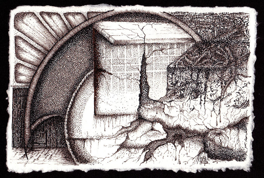 Abstract Drawing - When Parallels Cross by Buck Buchheister