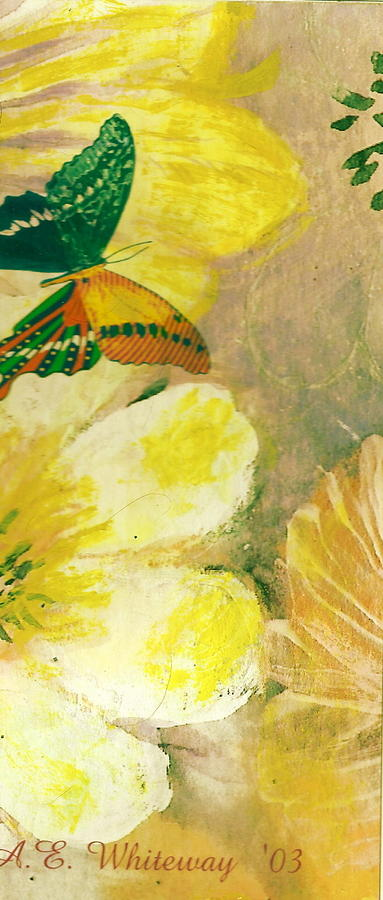 Yellow Painting - Where Are You Going Butterfly by Anne-Elizabeth Whiteway