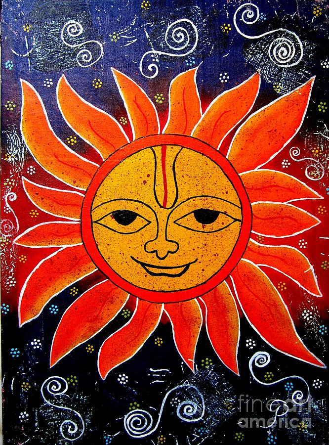 Whimsical Painting-whimsical Sun God Painting  - Whimsical Painting-whimsical Sun God Fine Art Print