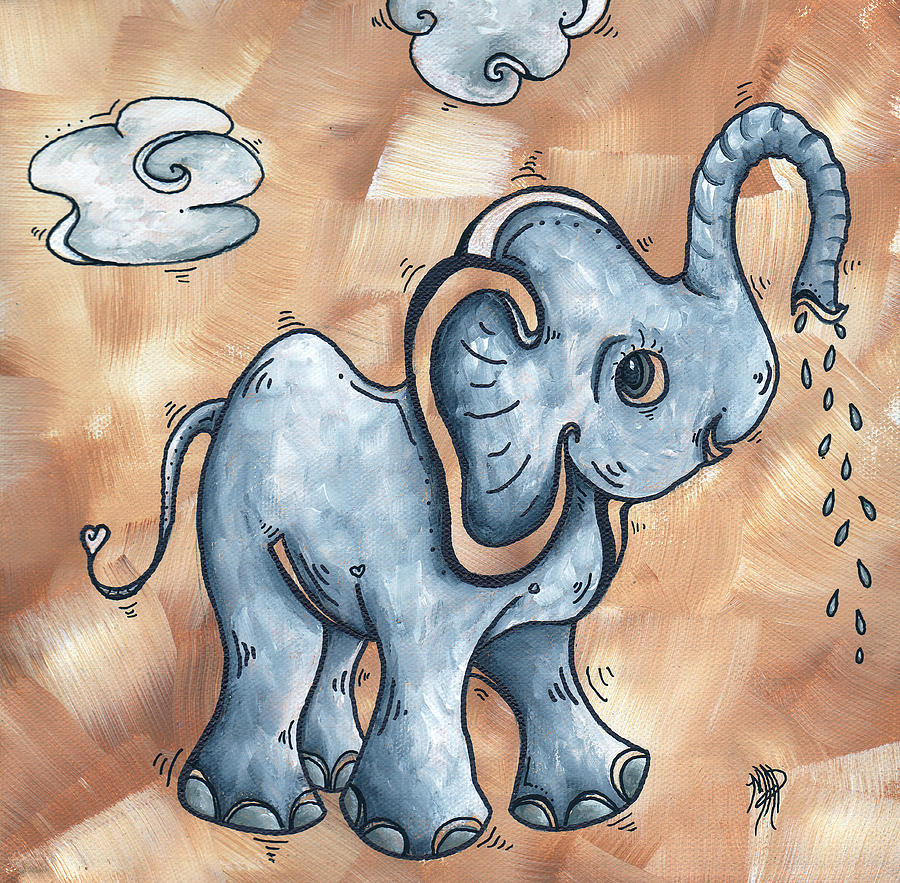 Whimsical Pop Art Childrens Nursery Original Elephant Painting Adorable By Madart Painting  - Whimsical Pop Art Childrens Nursery Original Elephant Painting Adorable By Madart Fine Art Print