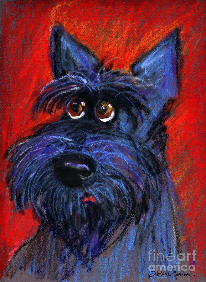 whimsical Schnauzer dog painting Painting  - whimsical Schnauzer dog painting Fine Art Print
