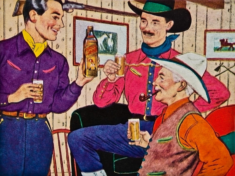 Advertisement; People; Drink; Whiskey; Happy; Leisure; Cowboy; Old; Style; 1948; Drawing; Magazine Photograph - Whiskey Advertisement by Susan Leggett