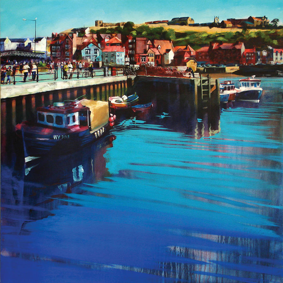 Art; Painting; Paintings; Beach; Landscape; Whitby; Town; North; East; Yorkshire; Coastal; Smokehouses; Buildings; Harbour; Harbours; Harbor; Harbors; Port; Ports; Marine; Saint; Marys; Abbey; Purple; Blue; Water; England; English; Uk; British; Cottages; Coast; Coastline; Jetty; Tide; Tidal; River; Esk; Estuary; Estuaries Painting - Whitby New Quay by Neil McBride