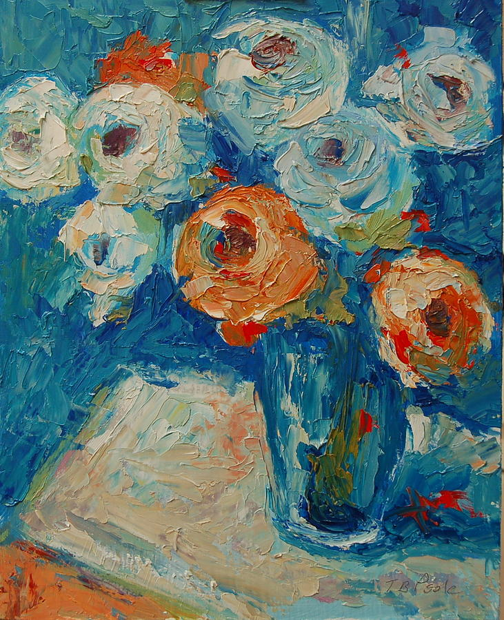 White And Orange Roses In A Sea Of Blue Painting  - White And Orange Roses In A Sea Of Blue Fine Art Print