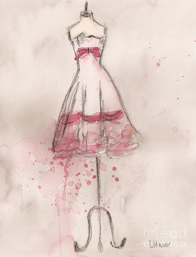 White And Pink Party Dress Painting  - White And Pink Party Dress Fine Art Print