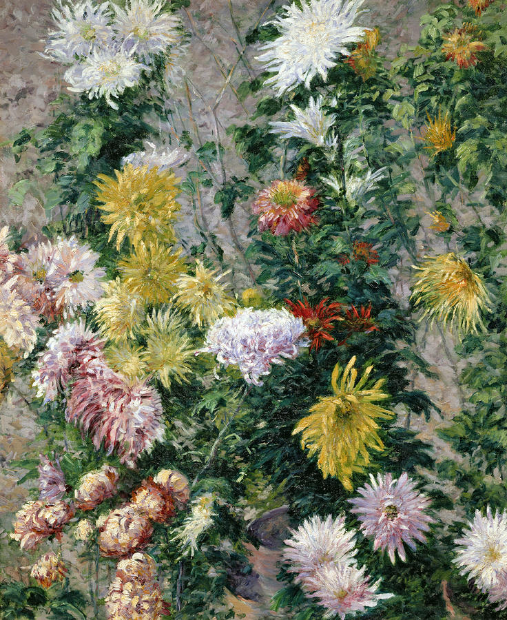 White And Yellow Chrysanthemums Painting