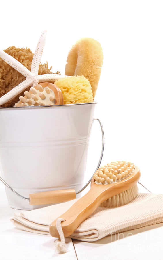 White Bucket Filled With Sponges And Scrub Brushes  Photograph  - White Bucket Filled With Sponges And Scrub Brushes  Fine Art Print