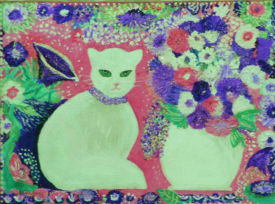 White Cat With Flowers All Around Painting  - White Cat With Flowers All Around Fine Art Print