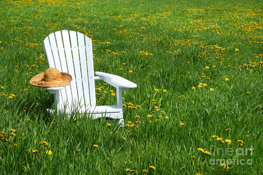 White Chair With Straw Hat Digital Art