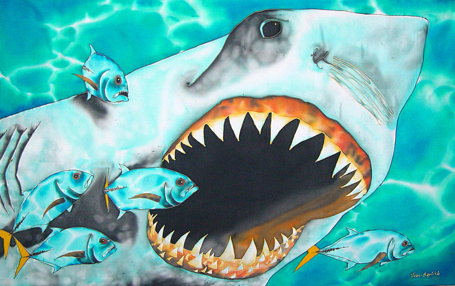Shark Painting Painting - White by Daniel Jean-Baptiste