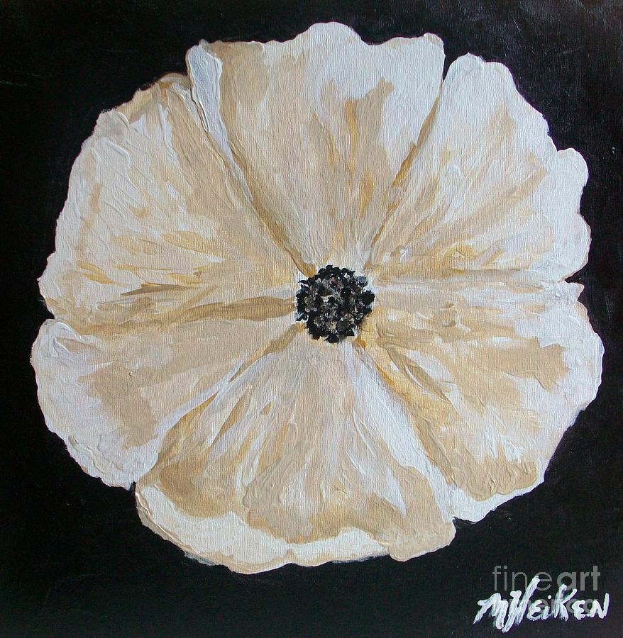 White Flower On Black Painting  - White Flower On Black Fine Art Print