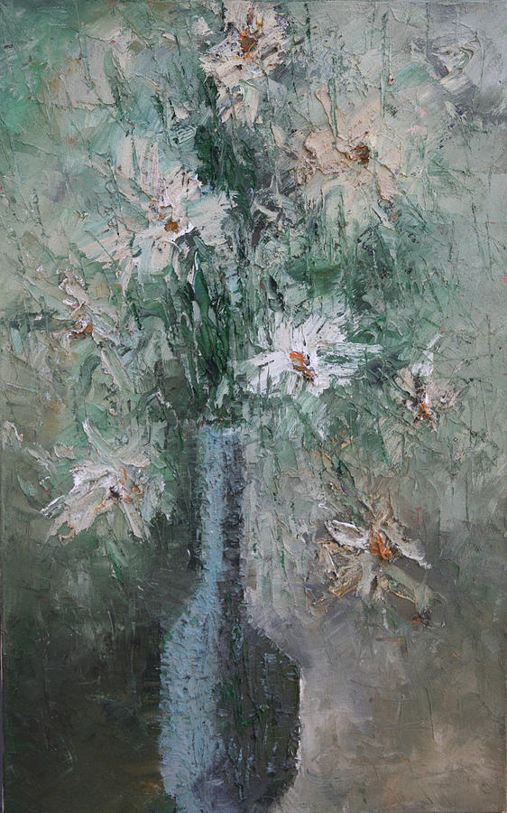 White Flowers Painting  - White Flowers Fine Art Print