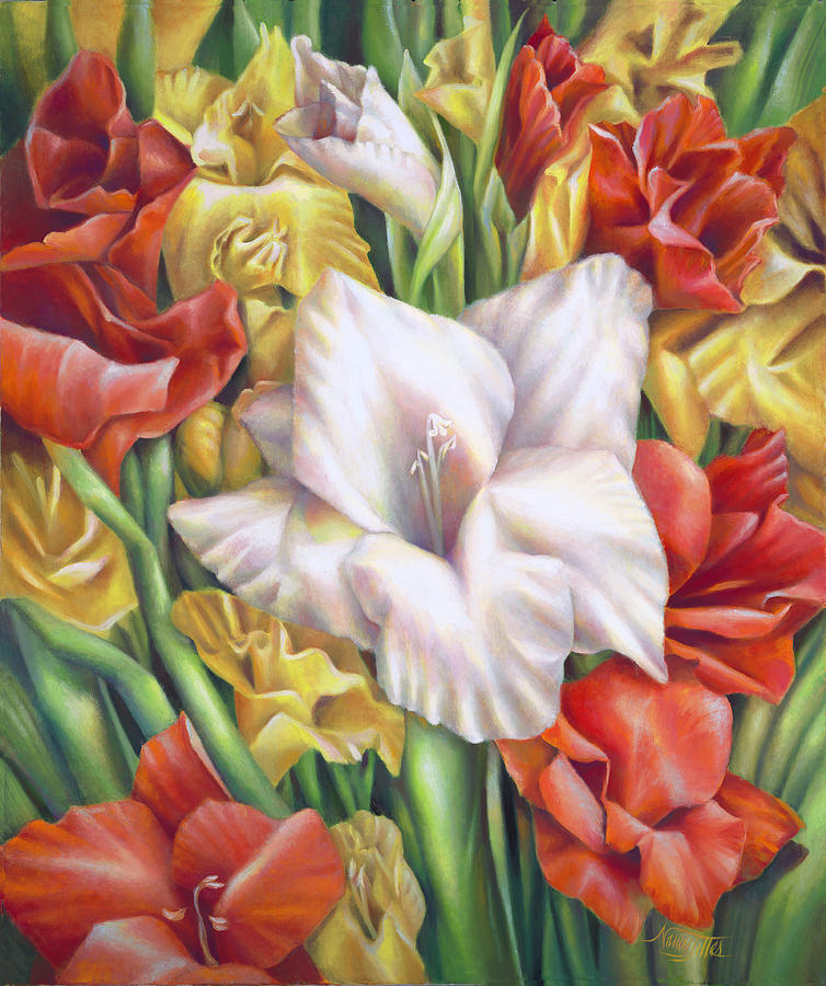 White Gladiolus Close Up Painting by Nancy Tilles
