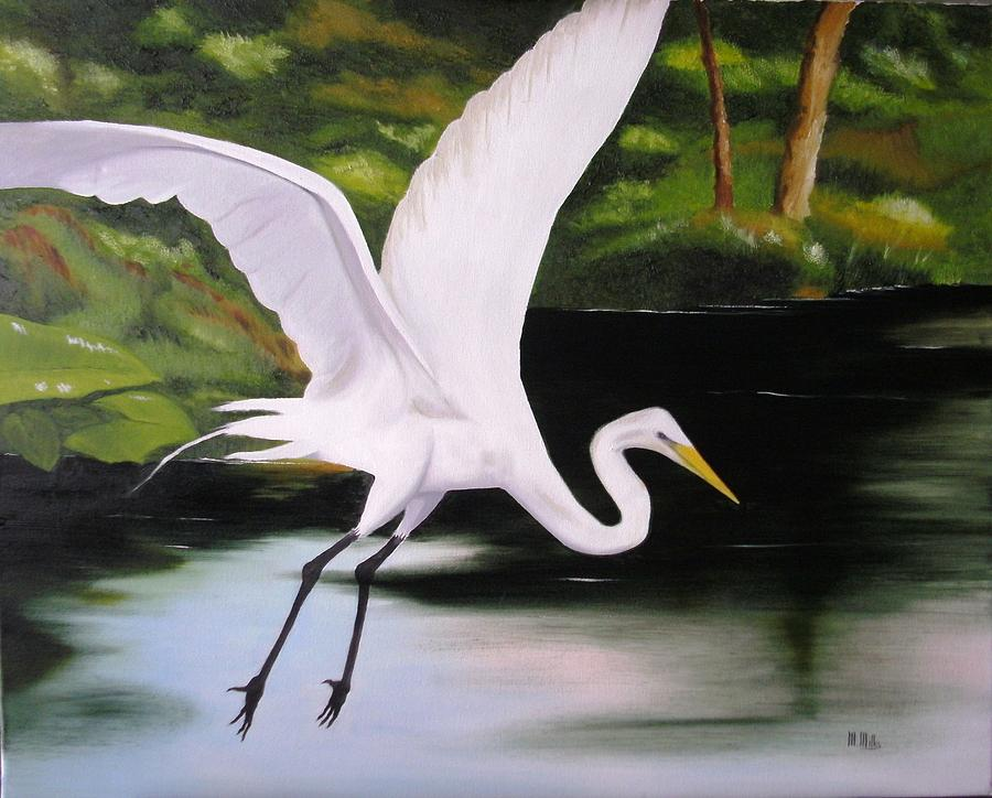 White Heron In Flight By Maria Mills